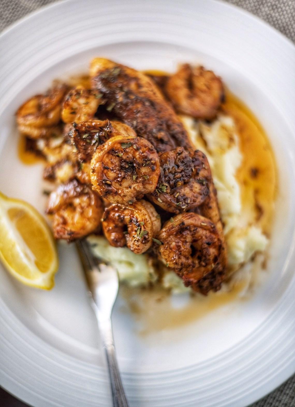 BBQ Shrimp over Cajun Catfish