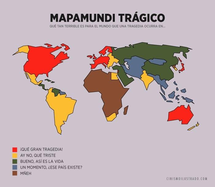Mapamundi trágico actualidad Racismo