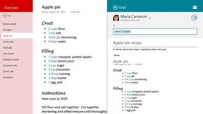 Envie anotações por email aos amigos ou envie informações de outros aplicativos diretamente para o OneNote