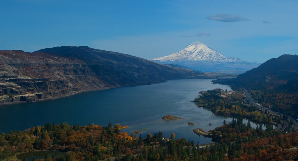 Mount Hood from the Columbia River in Oregon, USA.