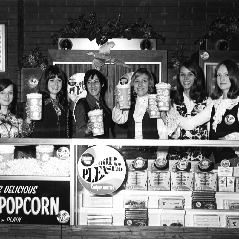 Indian Hills Theatre, Omaha, NE. Lobby Concession stand staff.