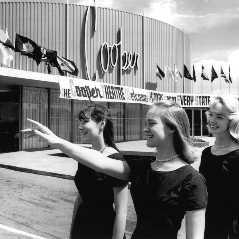 Denver Cinerama Theatre, Denver, CO. Ushers on Colorado Boulevard. Photo by Denver Post.
