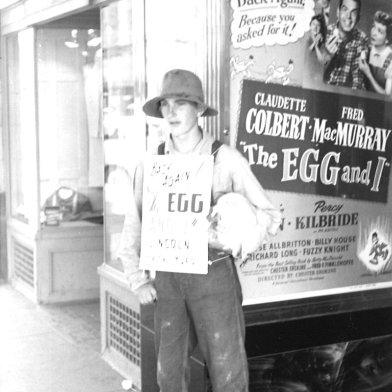 "Lincoln Theatre, Lincoln, NE, Summer 1954. Usher promotion for ""The Egg and I."""