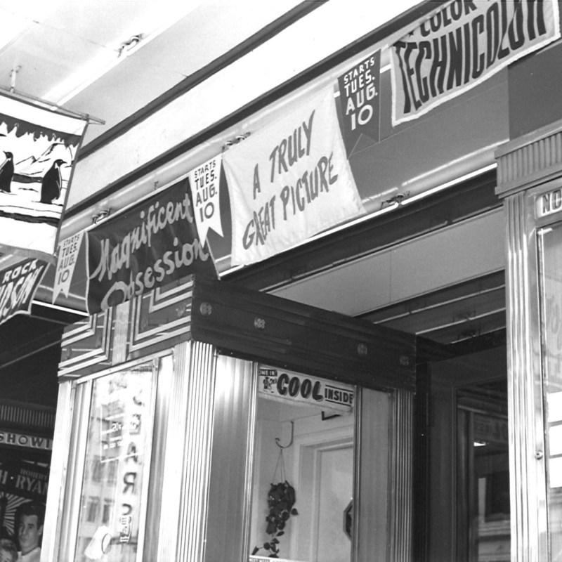 Lincoln Theatre, Lincoln, NE, Summer 1954. Theatre front & box office.