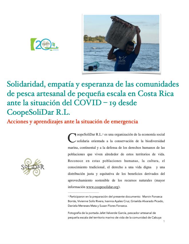 Pesca Artesanal y Covid - 19 en Costa Rica