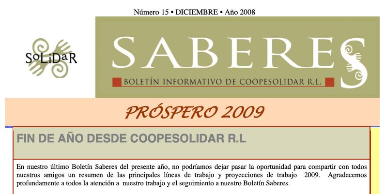Boletín SABERES No 15 Año 2007