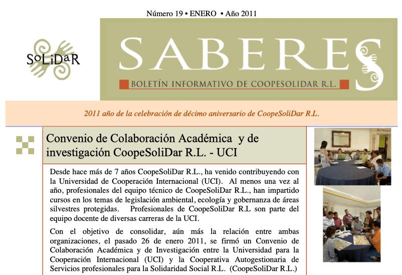Boletín SABERES No 19 Año 2011
