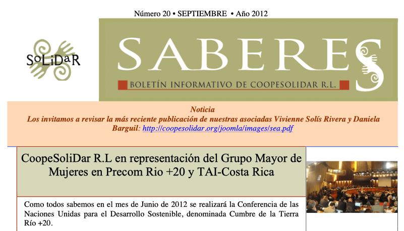 Boletín SABERES No 20 Año 2012