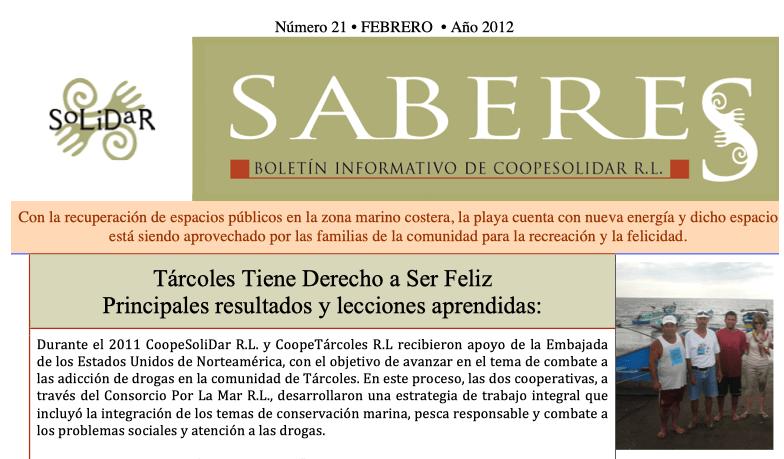Boletín SABERES No 21 Año 2012