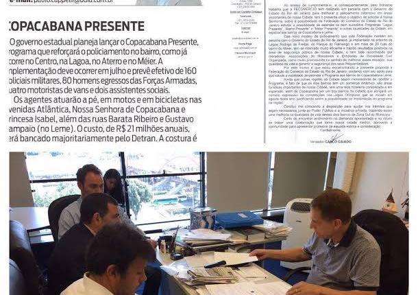 Enfim, Alívio para os Moradores : Copacabana Presente começa em Julho de 2017