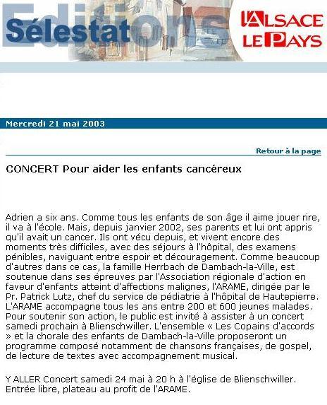 L'Alsace du 21 mai 2003