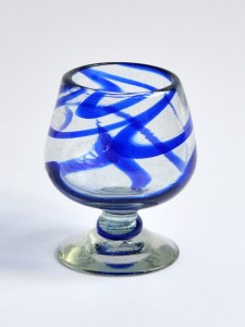 Cognac glass blue swirls