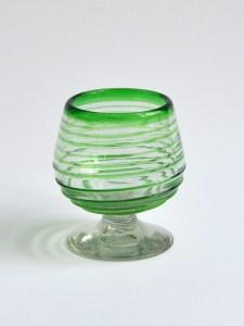Cognac glass green spirals