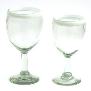 Wine glasses white rim