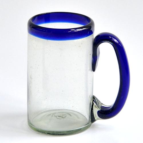 Beer mug 16 oz - Cobalt blue rim Image