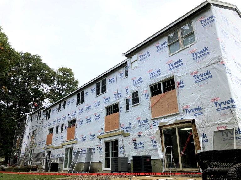 Condominium building envelope replacement in progress