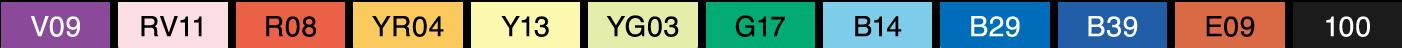 Copic Classic 12pc Color Set : Color list