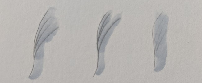 Illustrations of the blurring that occurs when Copic ink is applied to graphite marks.