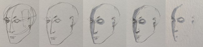 Illustration of the process of drawing a head, showcasing rubbing pencil from on top of Copic ink.