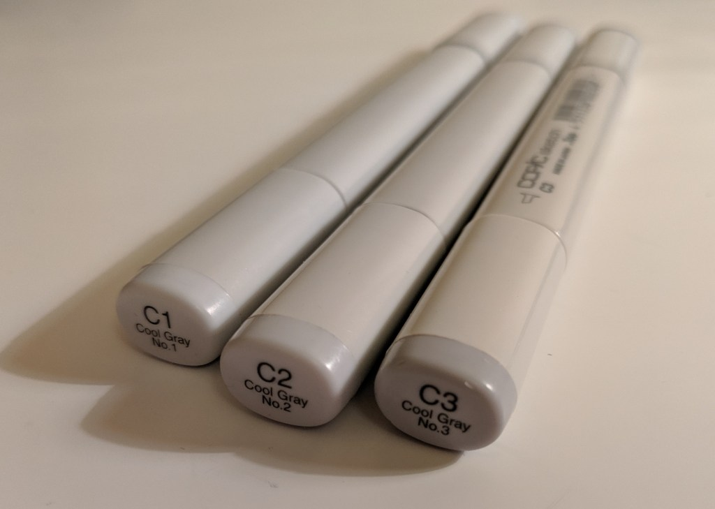 Photograph of Copic Cool Grey one, two and three pens.