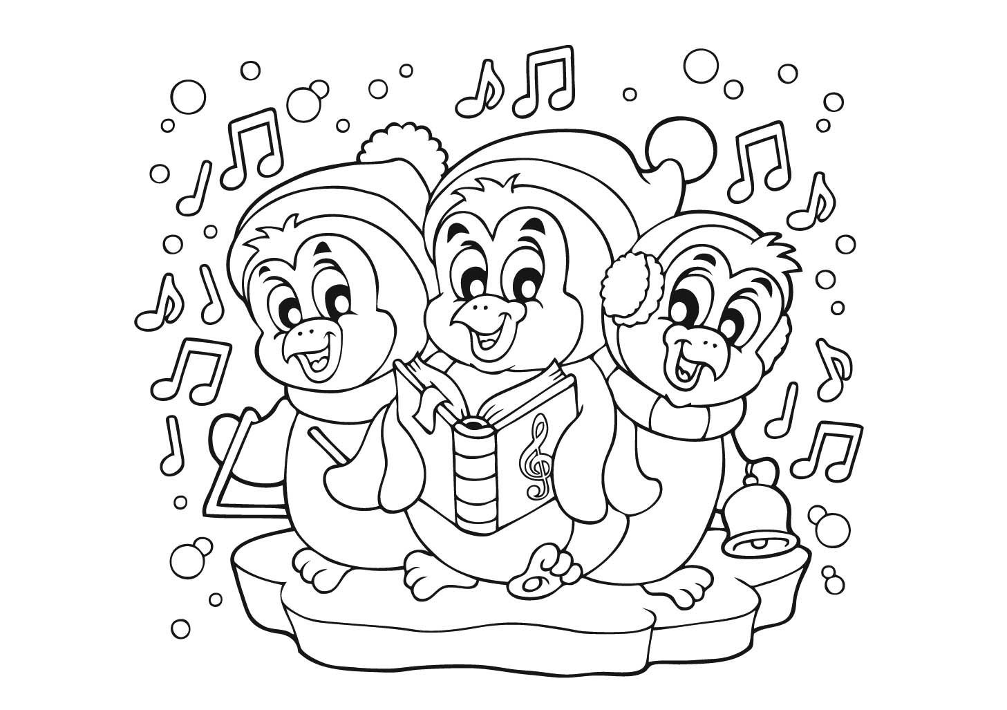 Christmas Baby Penguin Coloring Pages