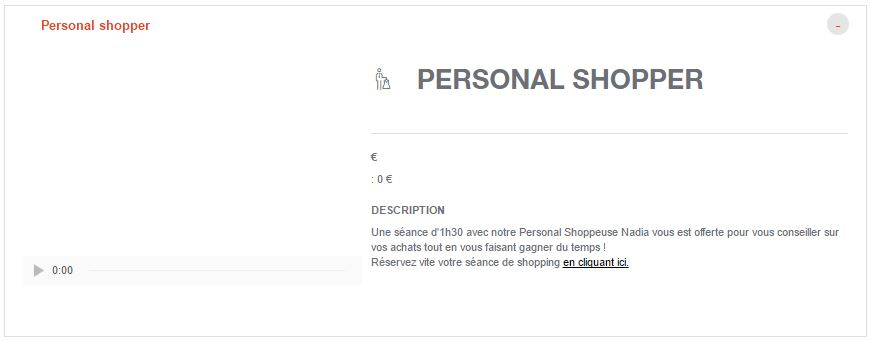 Reservation Personnal Shopper Parly2