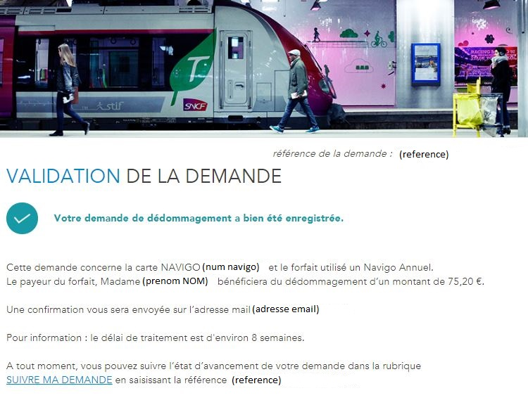 Confirmation depot dossier dedommagement SNCF