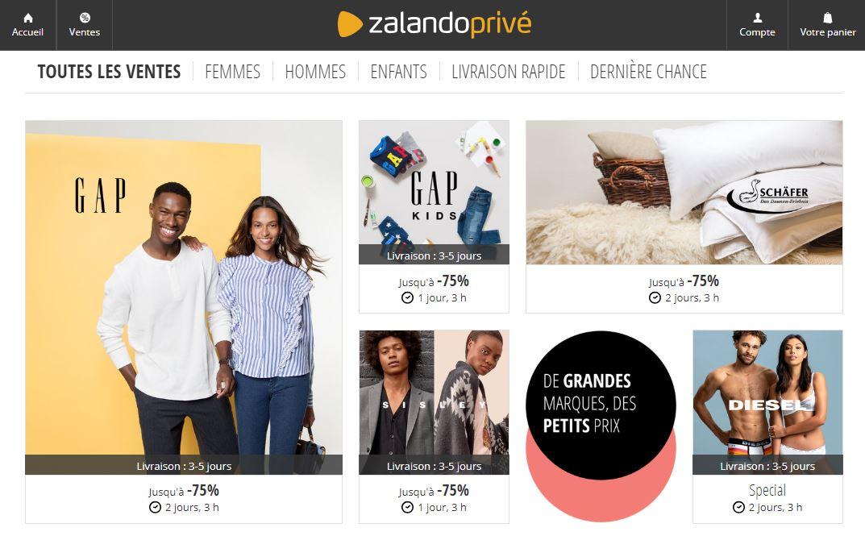 Page accueil Zalando Privé