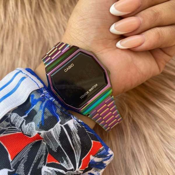 Casio-touch-watch-rainbow-color-design