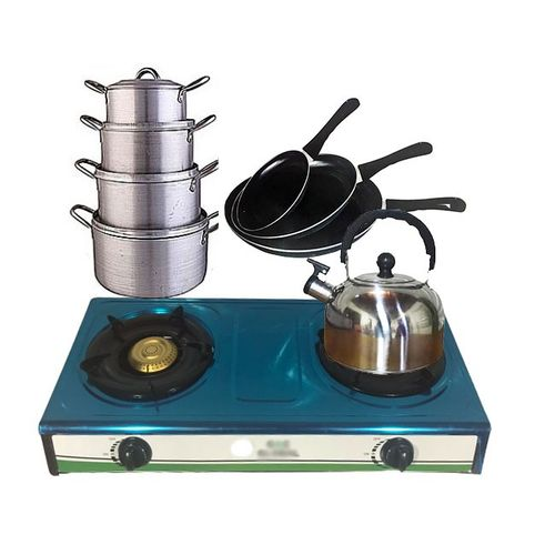 Double Burner Table Top + Pot + Fry And Kettle Bundle