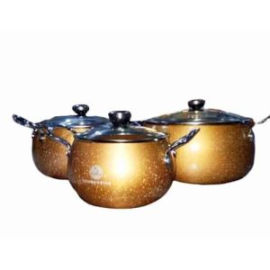 Master Chef Aluminium Pot Set 3 With Glass Lid