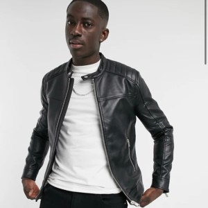 Black Men's Bershka Faux Leather Biker Jacket