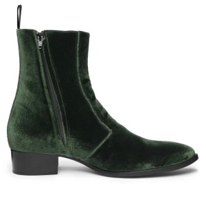 Moss Green Velvet Luca Boot