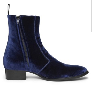 Midnight Blue Velvet Luca Boot