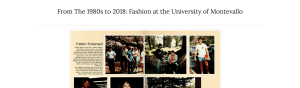 Screenshot of a page of the Fashion at the University of Montevallo website