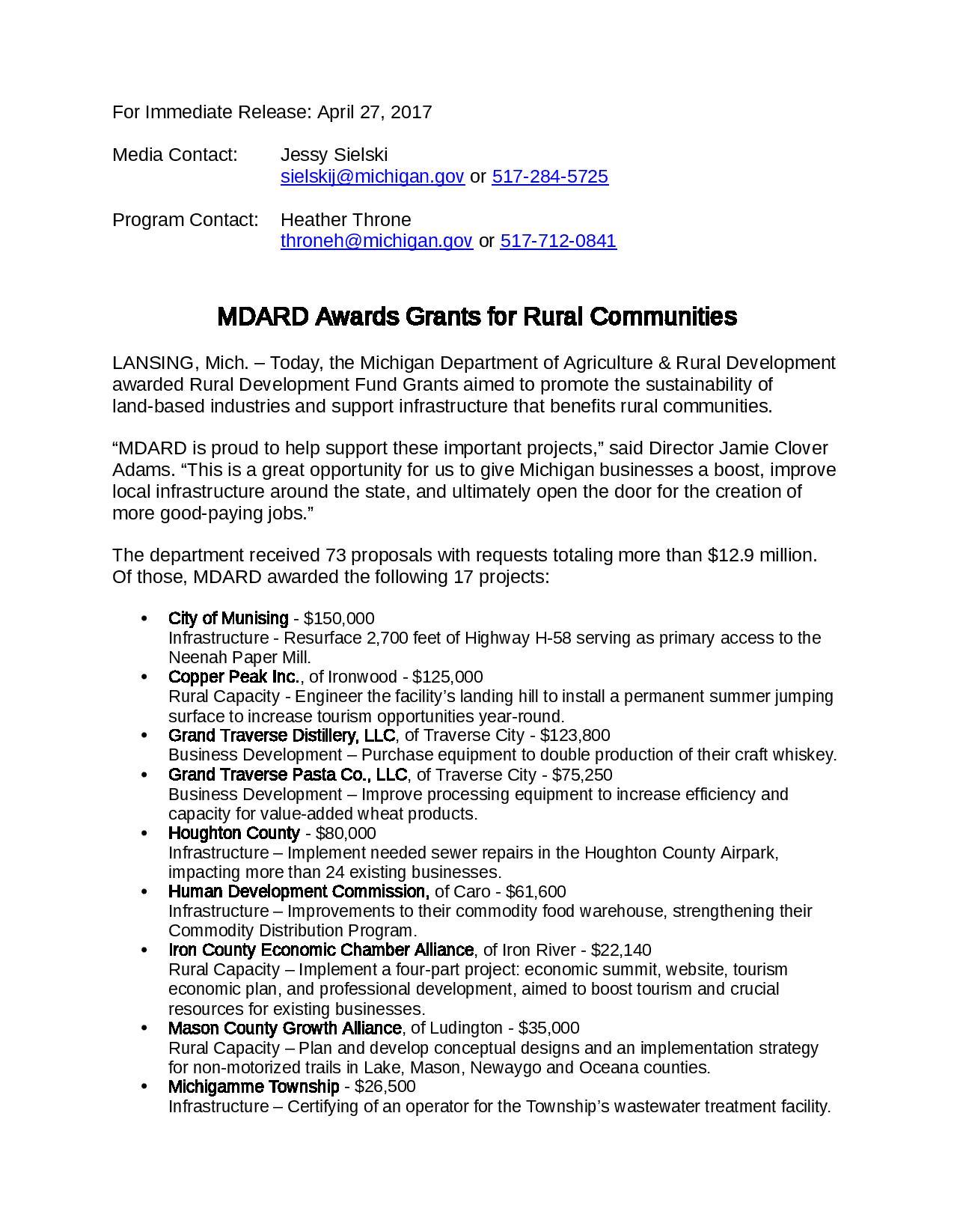 Press Release: $125,000 MDARD Grant