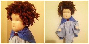 Finished boy marionette ,next time I'd use thinner yarn for the hair but I actually love his wild mop of hair and ladybird clasp