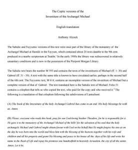 النسخة القبطية لتجليس رئيس الملائكة ميخائيل - ترجمة إنجليزية