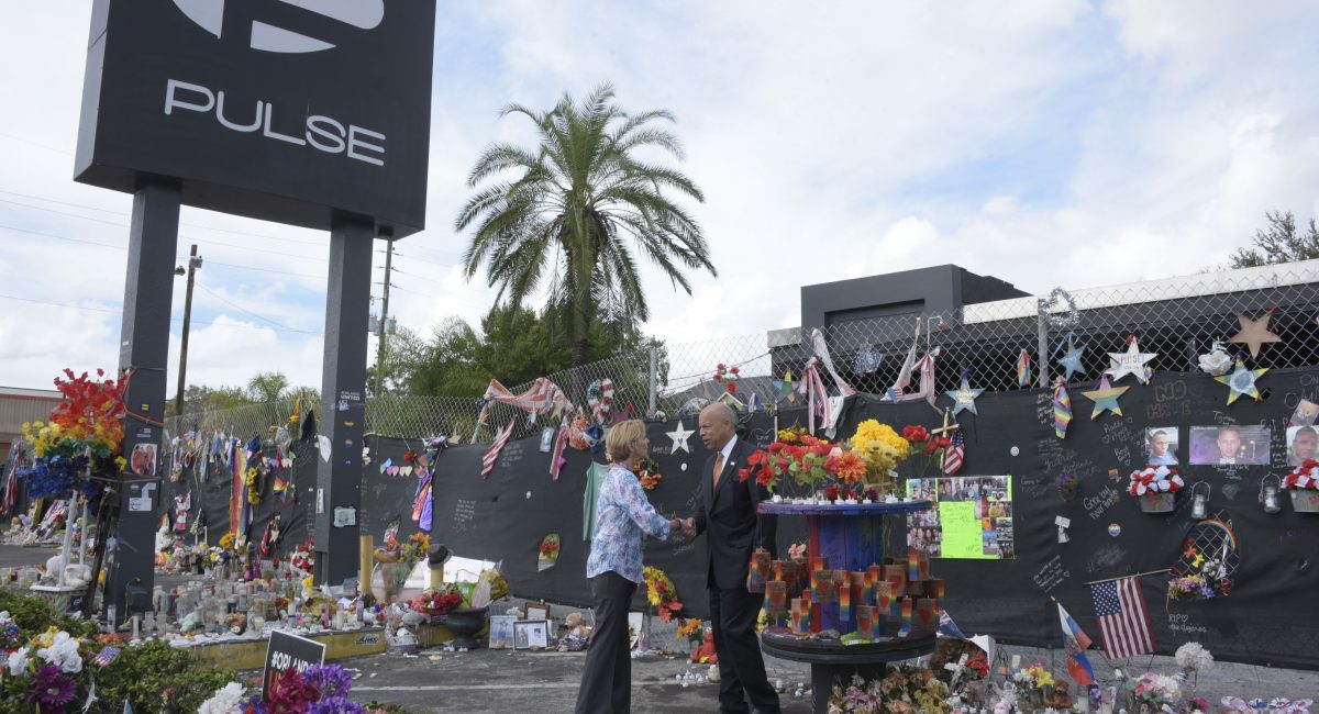 ORLANDO - Secretary of Homeland Security Jeh Johnson visits Pulse Nightclub on the three-month anniversary of the shooting which left 49 people dead in Orlando, Sept. 12, 2016. Secretary Johnson viewed the inside of the nightclub before laying flowers at a makeshift memorial outside of the club where he spoke to a chaplain there who had assisted those impacted by the shooting. Official DHS photo by Jetta Disco.