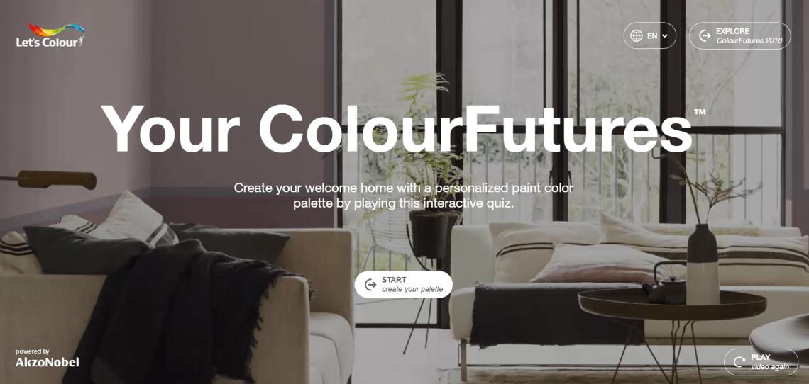 AkzoNobel Your ColourFutures game quiz copywriting screenshot