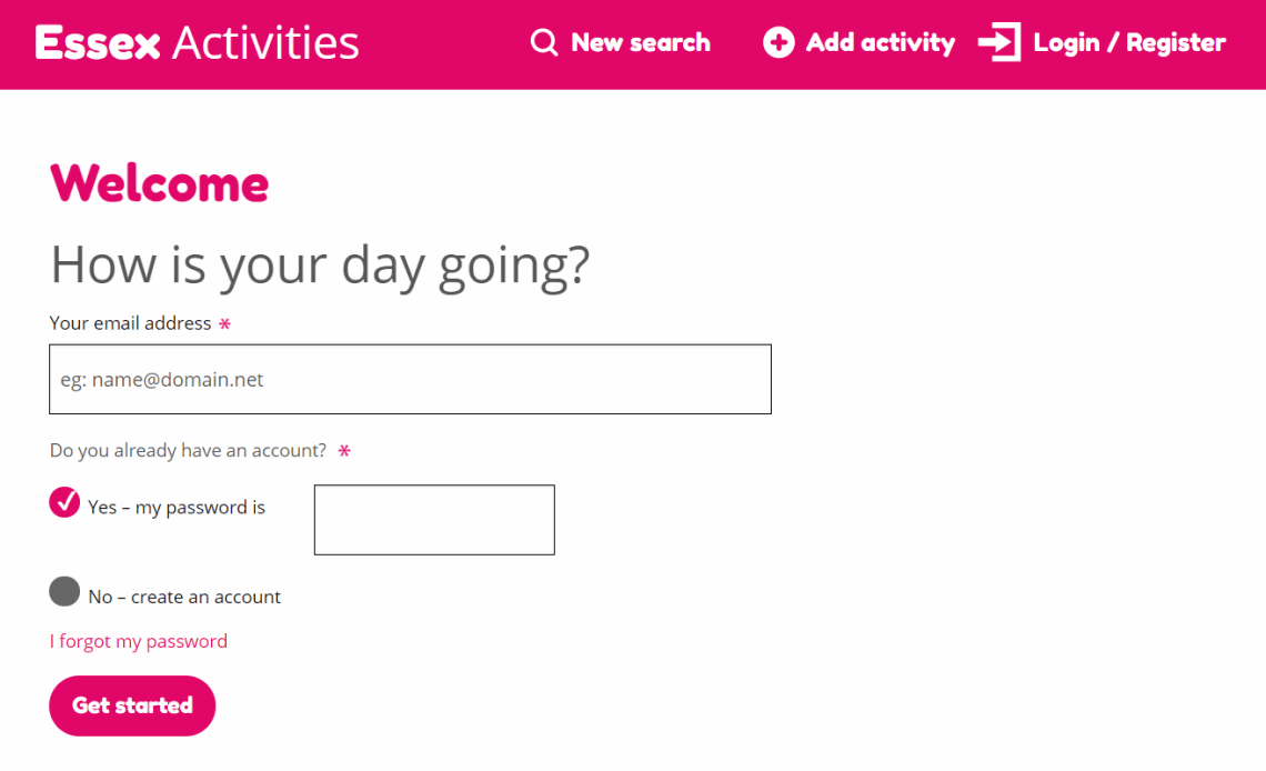 Essex Activities activity upload welcome page screenshot