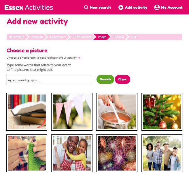 Essex Activities activity upload 'add photo' screen