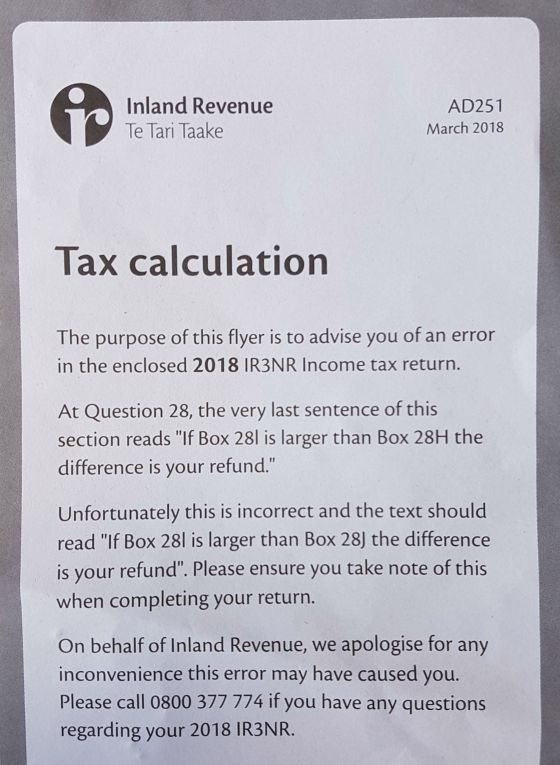 Inland Revenue tax return form correction insert