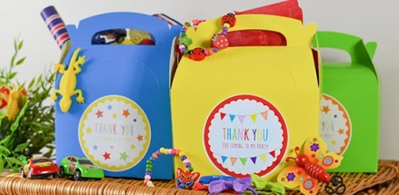 party bag picture, colourful party boxes