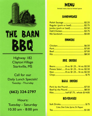 The Barn BBQ Flyer in Two Colors