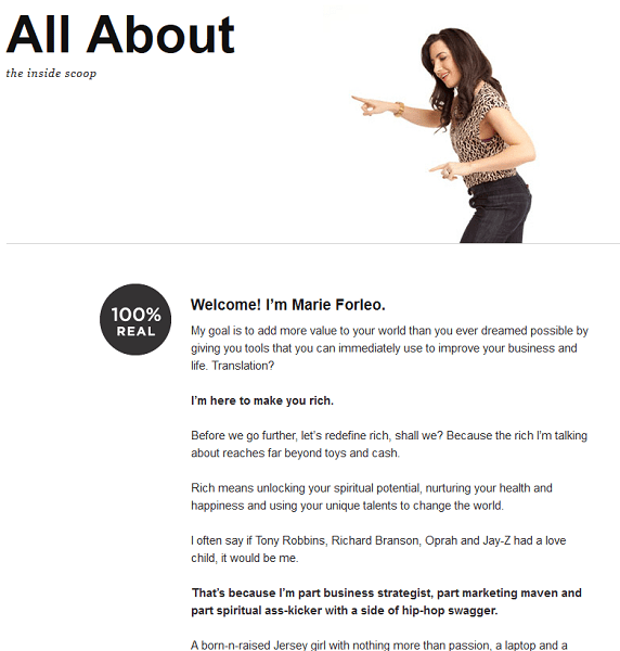 About Us - Lessons from Marie Forleo