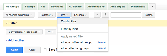 Using Filters in Adwords