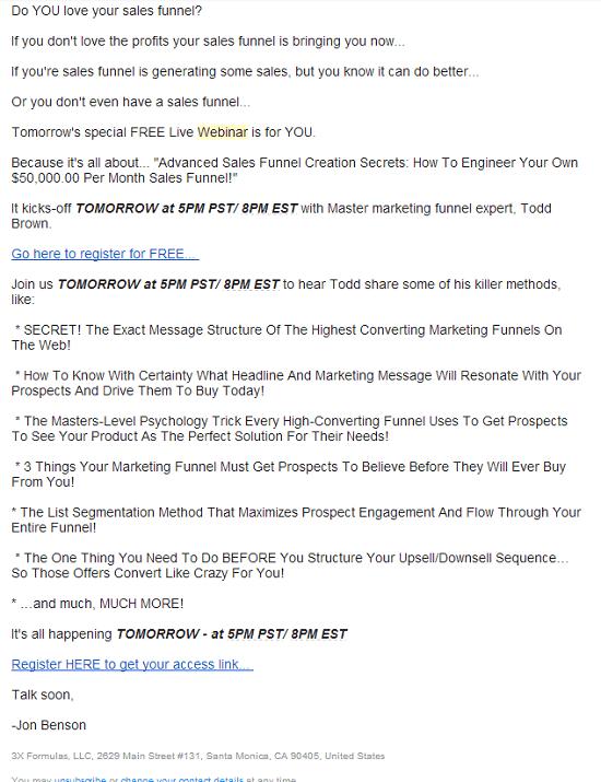 Jon Benson webinar invite