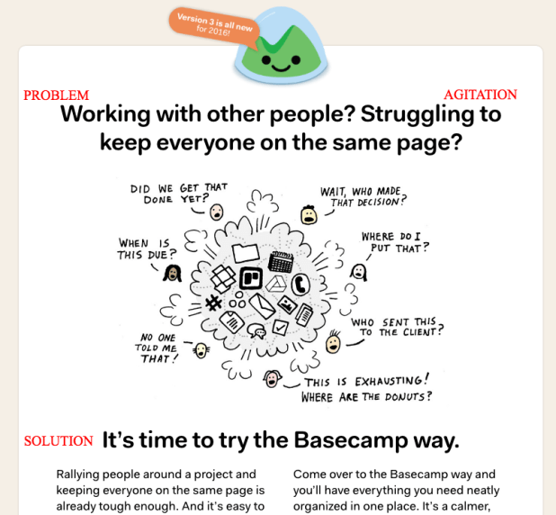 PAS on the Basecamp 3 home page. And they use an open letter on the page, too. Because of course they do.