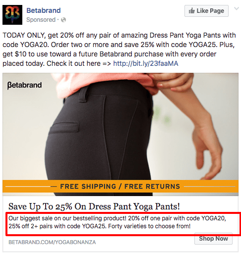 Betabrand news feed ad